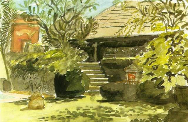 """Акварель, Стивен Литтл, """"Дом в цветущем саду""""."""