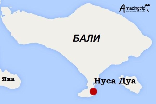 """Тур на Бали """"Отдых в Нуса Дуа"""" - карта маршрута"""