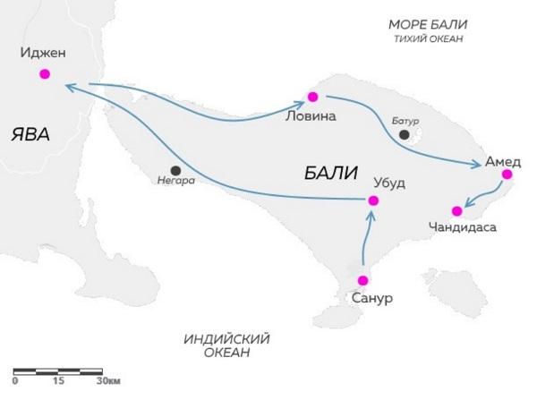 Карта маршрута тура Discover di Bali на Бали и Яву