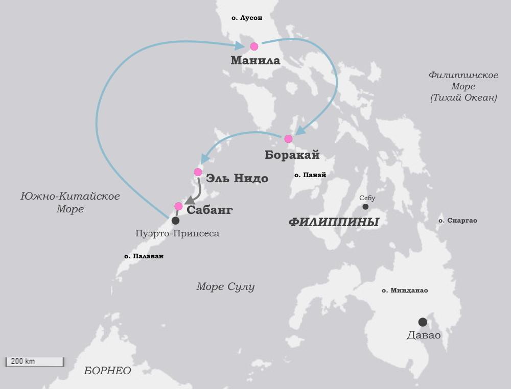 Авторский тур на Филиппины - карта